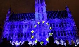 Projekce vlajky EU v Bruselu, ilustrační foto