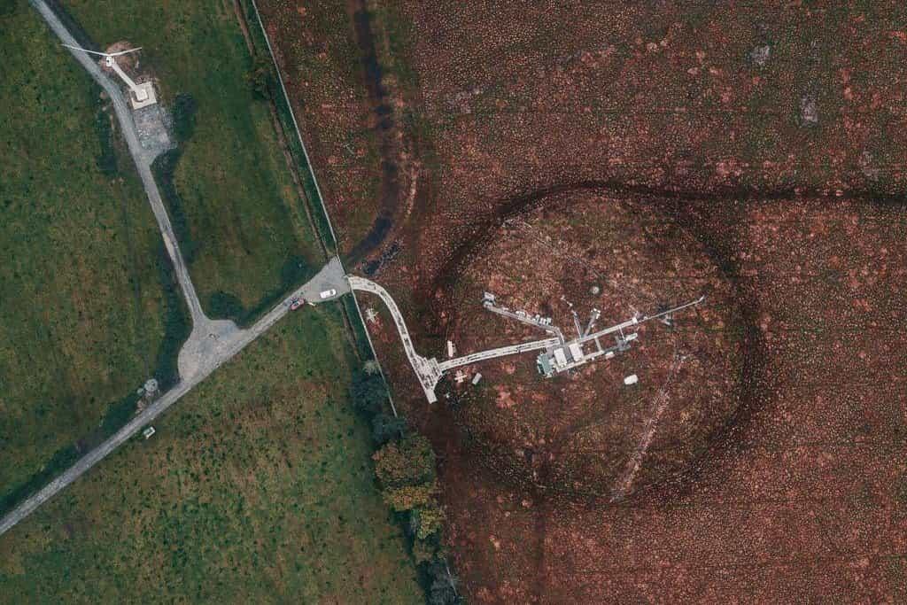 Letecký pohled na stanici ICOS ve Velké Británii.