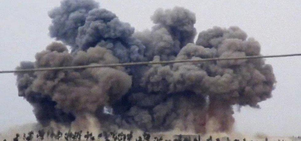 Výbuch ruské bomby v Sýrii