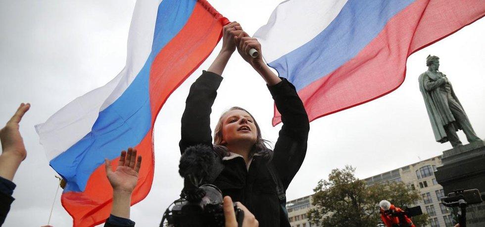 Demonstrace na podporu Alexeje Navalného v Rusku