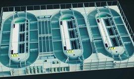 Projekt firmy Nordic Aquafarms. Každá krytá nádrž má mít objem 8 tisíc metrů krychlových.