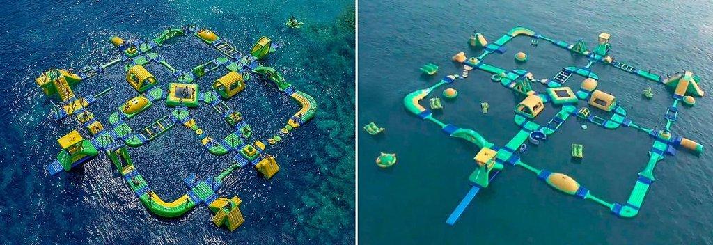 2. místo v soutěži Plagiarius 2018. Nafukovací vodní park Wibit Sports Park XL. Originální výrobek vlevo od Wibit Sports GmbH, Německo. Padělek vpravo od čínské firmy Sunny Kingdom.