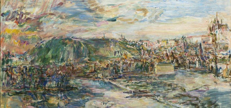 Obraz Oskara Kokoschky s názvem Praha se vydražil za více než 52 milionů korun