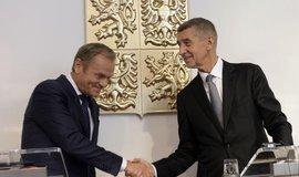 Andrej Babiš po jednání s předsedou Evropské rady Donaldem Tuskem