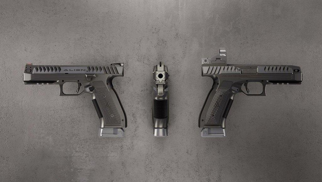Pistole Alien od Laugo Arms Czechoslovakia. Určená je zejména pro sportovní střelbu.