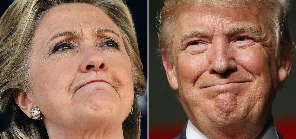 Uchazeči o prezidentský post Hillary Clintonová a Donald Trump