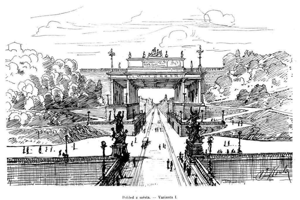 Průraz jako výzva. Zřejmě největší pražskou architektonickou výzvou nejen ve 20. století, ale vlastně od konce 19. století po současnost je Letná a její propojení s centrem Prahy. Soutěží se konalo hned několik. Nápadů, jak průraz navázat na Čechův most, z nich vzešla řada. Inspirace byla různá