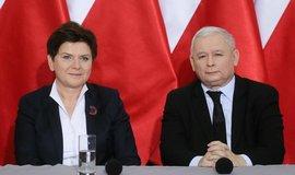 Zástupci polské vládní strany Právo a spravedlnost během tiskové konference ( Jaroslaw Kaczyński a Beata Szydłová)