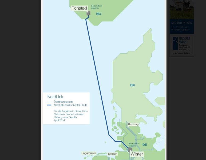 Trasa projektu NordLink.