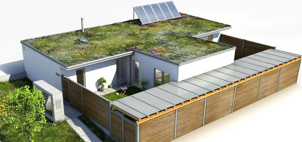 Vizualizace energeticky soběstačného rodinného domu se 4 pokoji.
