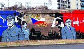 TGM a Kladenský rodák Anton Cermak na muralu v chicagské čtvrti Pilsen