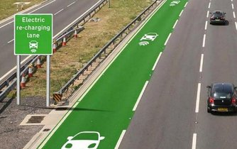 Vizualizace pruhu na dálnici pro nabíjení elektromobilů.