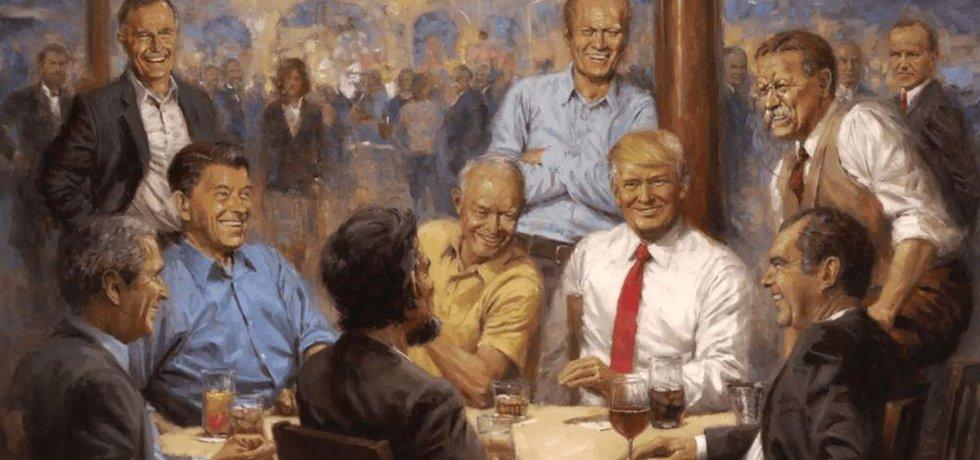 Donald Trump ve společnosti bývalých republikánských prezidentů USA na obraze malíře Andyho Thomase