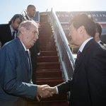 Miloš Zeman po příletu do Pekingu