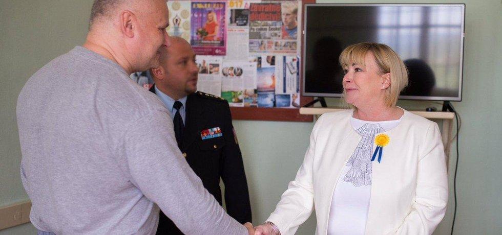 Jiří Kajínek a manželka prezidenta Ivana Zemanová