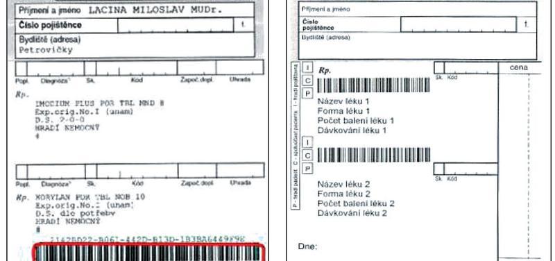 """Vlevo ePreskripce SÚKL, vpravo """"počítačový"""" recept s Tramisem"""