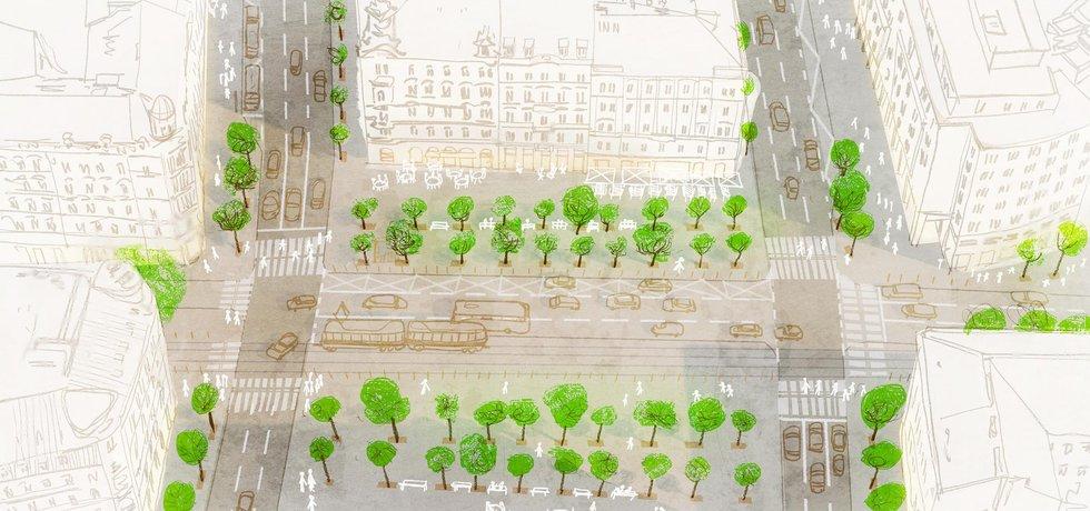 Vizualizace revitalizace magistrály a okolí