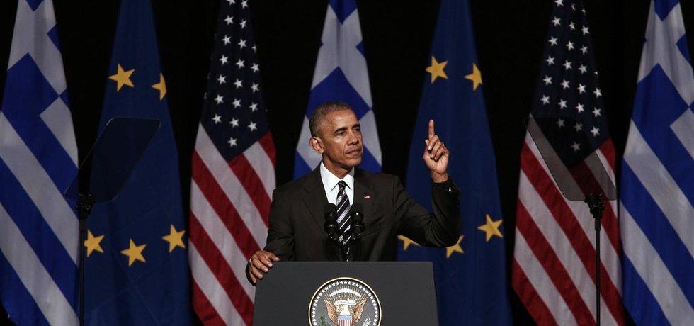 Prezident Spojených států Barack Obama na návštěvě v Aténách