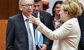 Předseda Evropské komise  Jean-Claude Juncker a německá kancléřka Angela Merkelová