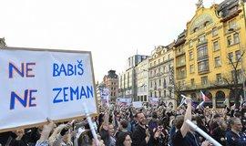 Demonstrace proti premiérovi a prezidentovi na pražském Václavském náměstí
