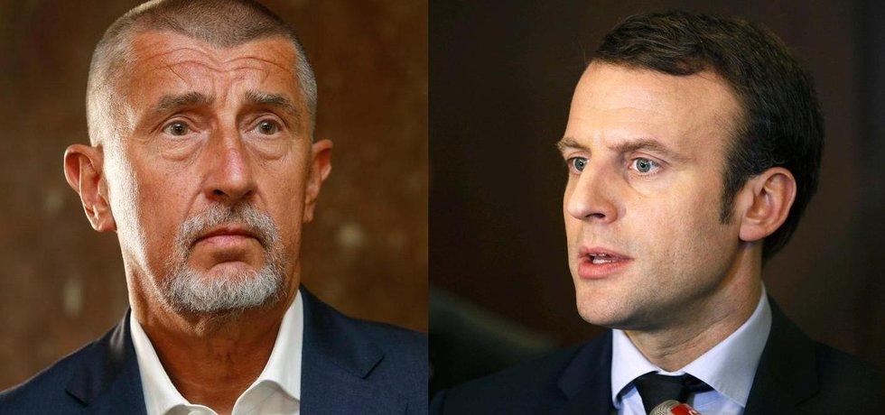 Andrej Babiš (vlevo) a Emmanuel Macron