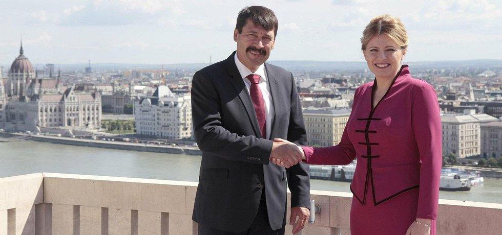 Prezidentka Slovenska Zuzana Čaputová a její maďarský protějšek János Áder