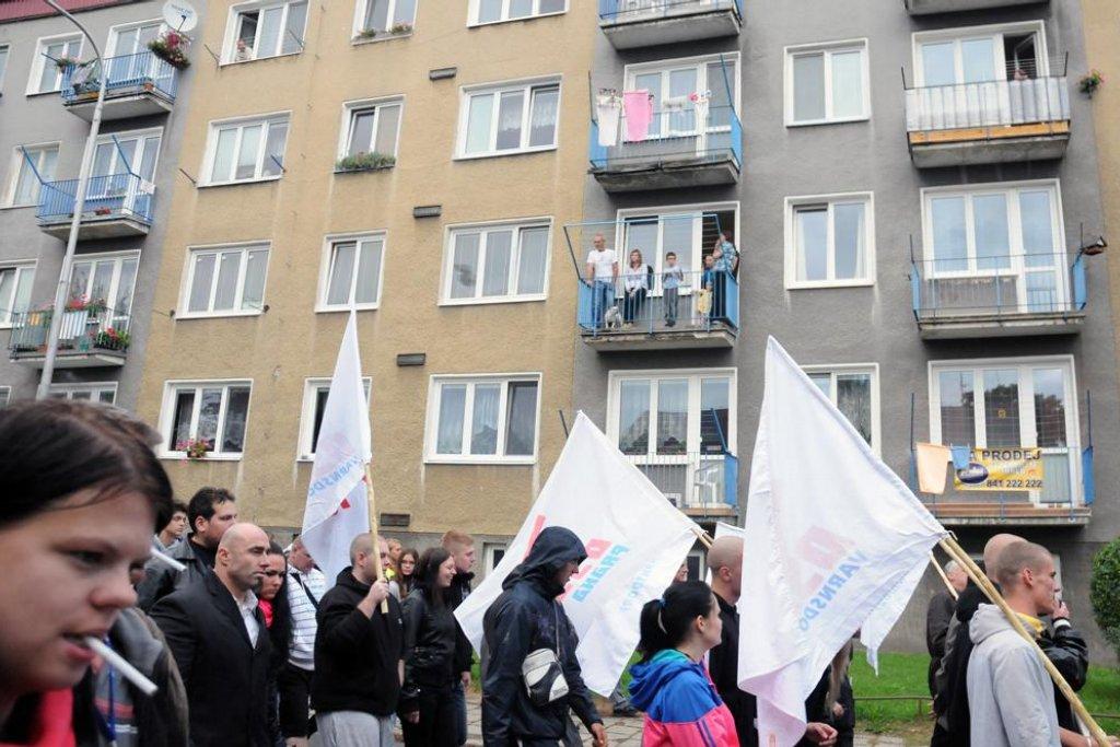 Pochod Dělnické strany Varnsdorfem. Foto: Petr Horký