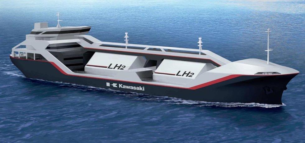 Plánovaný japonský tanker na přepravu kapalného vodíku.
