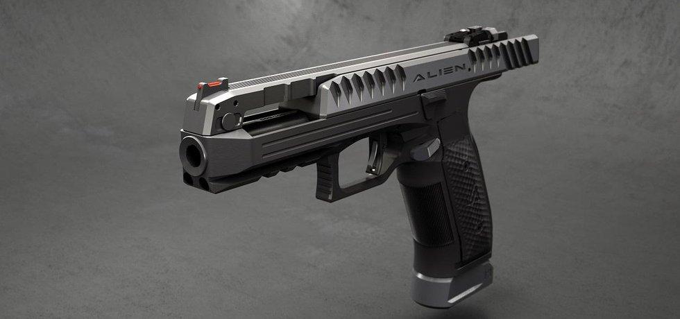 Pistole Alien od Laugo Arms Czechoslovakia. Závěr je zapuštěn do těla pistole.