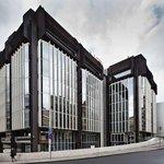 Komplex budov Transgasu na Vinohradské třídě v Praze (na archivním snímku z 1. dubna 2016) postavený ve stylu brutalismu.