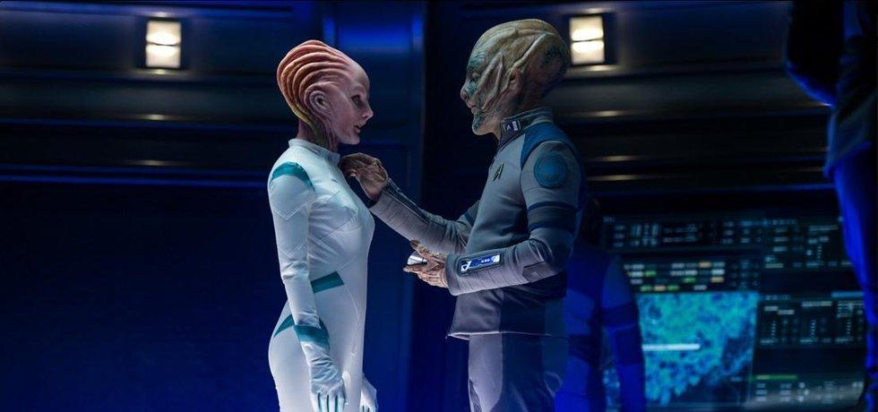 Šéf Amazonu Jeff Bezos během natáčení snímku Star Trek Beyond, ve kterém hraje mimozemšťana