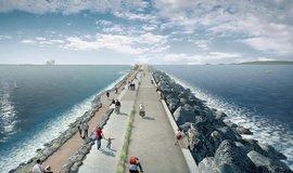 Vizualizace projektu přílivové elektrárny v zálivu u welšského města Swansea