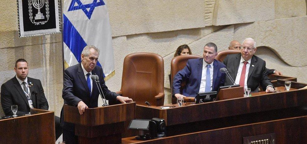 Český prezident Miloš Zeman během projevu v izraelském parlamentu