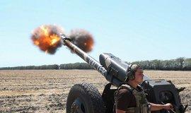 Konflikt na Ukrajině, ilustrační snímek z nácviku dělostřelby