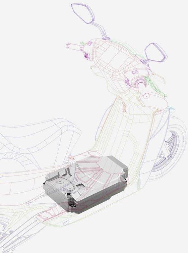 Uložení baterie elektrického skútru firmy Ather Energy.