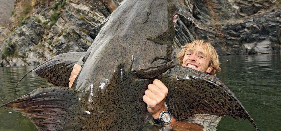 Jakub Vágner s rybou bagarius bagarius