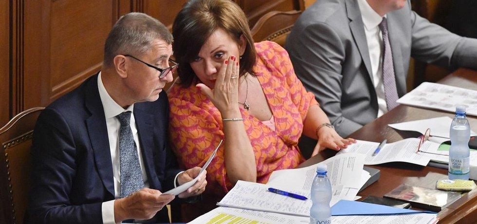 Premiér Andrej Babiš, ministryně financí Alena Schillerová a ministr průmyslu Karel Havlíček