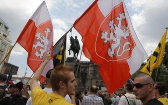 Demonstrace proti migrantům na Václavském náměstí (18.7. 2015)