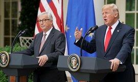 Donald Trump na jednání s Jeanem Claudem Junckerem