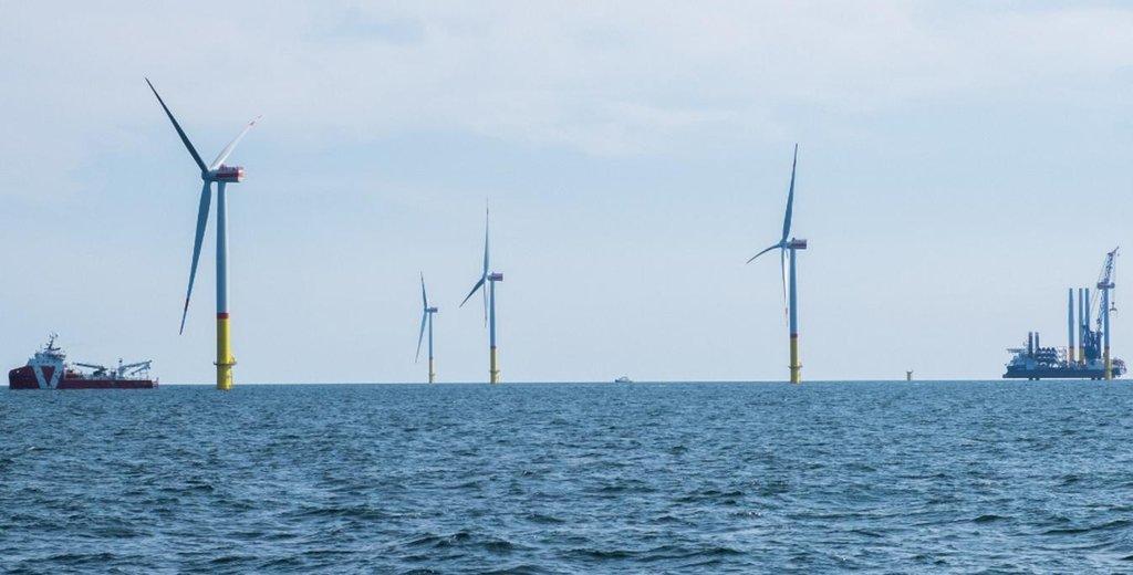 Větrný park Arkona leží 35 kilometrů od ostrova Rujána.