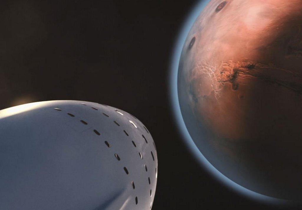 Umělecké ztvárnění vesmírné lodi, blížící se k Marsu.
