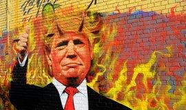 Graffiti ztvárňující Donalda Trumpa s ďábelskými růžky