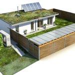 Vizualizace rodinného domu s dvěma pokoji o rozloze 100 m2.