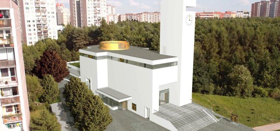 Vizualizace plánovaného kostela na Barrandově