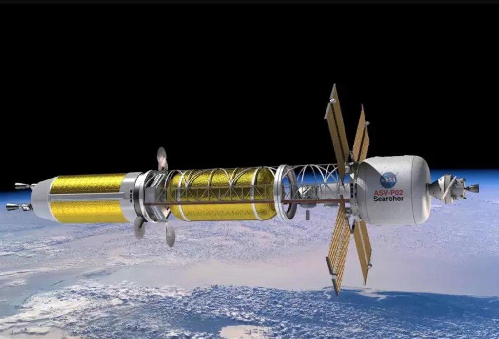 Vizualizace vesmírné rakety na jaderný pohon.