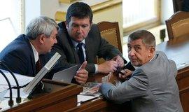 Předseda KSČM Vojtěch Filip, předseda ČSSD Jan Hamáček, předseda hnutí ANO Andrej Babiš