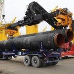 Potrubí pro Nord Stream II v přístavu Mukran na německém ostrově Rujana. Listopad 2017.