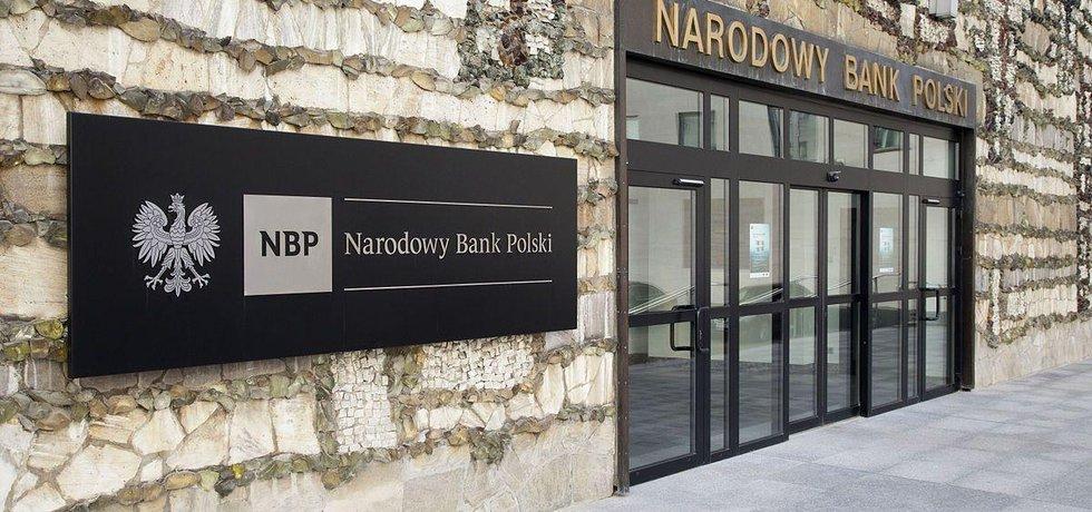 Hlavní vchod do centrály Polské centrální banky