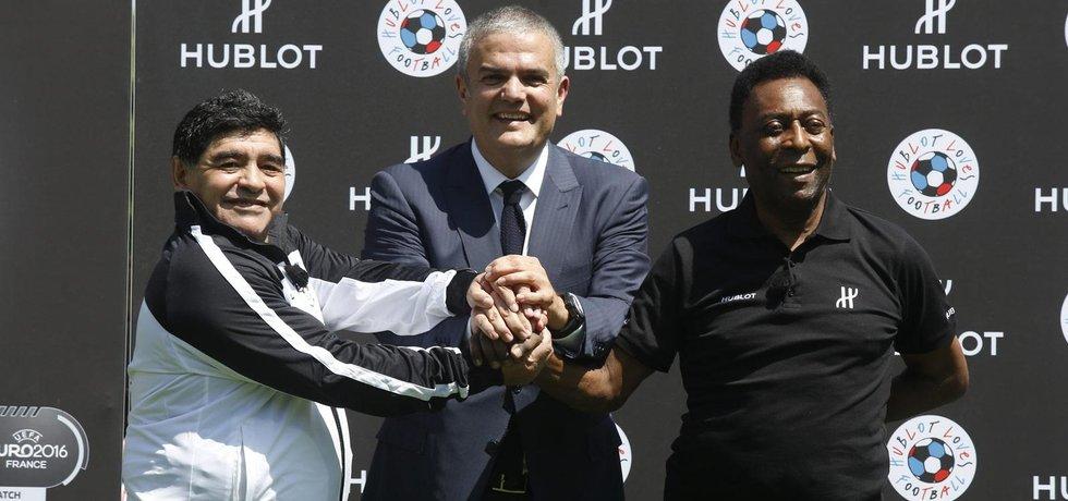 Zleva: Diego Maradona, Ricardo Guadalupe a Pelé (Zdroj: Hublot)