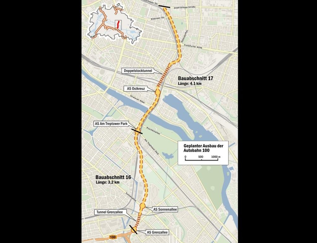 Mapa úseků rozšíření A100.
